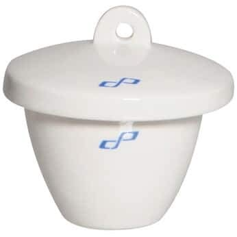 Cole-Parmer Tall-Form Crucible with Cover, Porcelain, 50 mL, 6/pk ()
