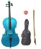 GRACE 4/4 Size BLUE Cello with Hard Case + Soft Carrying Bag+Bow+Rosin+Extra Set of Strings+Extra Bridge+Pitch Pipe+Black Cello Stand+Music Stand