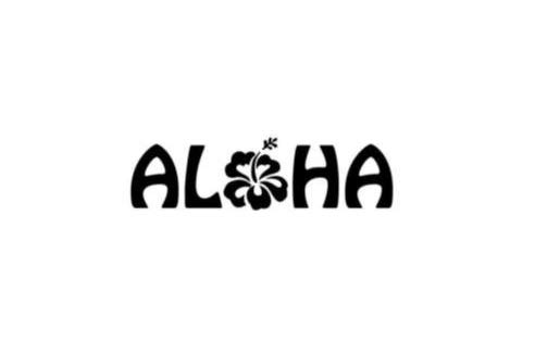 CCI Aloha Hibiscus Flower Hawaiian Hello Decal Vinyl Sticker|Cars Trucks Vans Walls Laptop|Black|5.5 x 1.75 in|CCI1863
