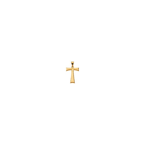 14K Yellow Gold 19X16mm Tau Cross Pendant with Packaging