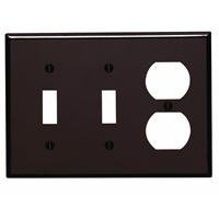 Leviton 85021 3-Gang 2-Toggle 1-Duplex Device Combination Wallplate, Standard Size, Thermoset, Device Mount, Brown (Duplex Receptacle Toggle)