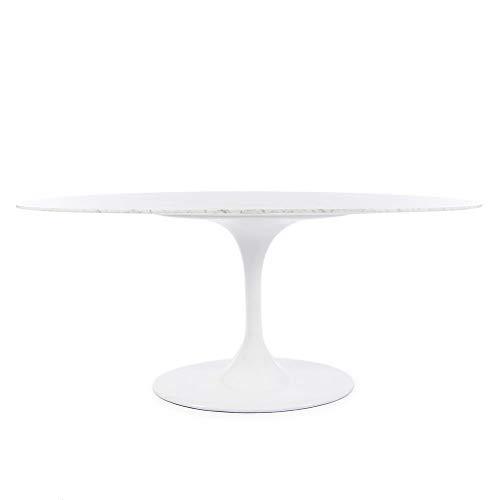 Oval Tulip Dining Table Replica - Italian Carrara Marble Top - Knoll Saarinen Tulip
