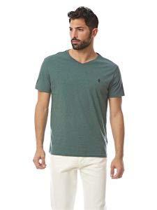 (Polo Ralph Lauren Men's Classic Fit V-Neck T-Shirt (Small, Charter Green))