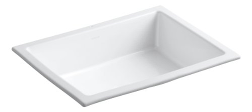 KOHLER 2882-0 Vitreous China undermount Rectangular bathroom sink, 17.5 x 22 x 8.19 inches, White