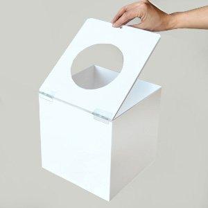 フタ式アクリル抽選箱ホワイト(不透明) S/鍵付/W20cm/D21.5cm/H20.6cm