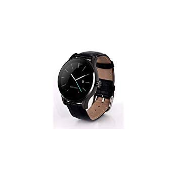 Wlogoo K88H Leather Smart Watch,Water Proof Fitness Trackers,Smart Watch Remote Control Music (Black)
