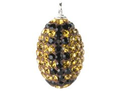 - Bling Crystal Football Charm Pendant - Topaz Yellow Gold and Jet Black
