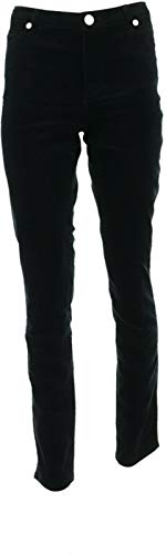Dennis Basso Stretch Velveteen Straight Pants Black 2 New A311298 from Dennis Basso