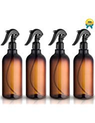 Spray Bottles, 16oz Plastic Spray Bottles with Black Fine Mist Sprayers Refillable Container for Essential Oils, Cleaning, Kitchen, Garden, Hair by Household Sprayer(4 pack) by householdsprayer