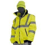 Majestic Glove 75-1300 PU Coated Polyester High Visibility Bomber Jacket with Fix Quilted Liner, 3X-Large, Yellow