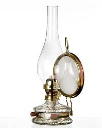 Lampada ad olio, lampada a petrolio in stile antico, riempibile, con base in vetro trasparente,con decorazioni dorate, stoppino colorato, con specchio con supporto in ottone soffiato, altezza circa 32,5 cm, Oberstdorfer Glashütte
