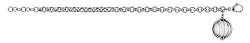 So Chic Bijoux © Bracelet Femme Longueur Réglable: 17 à 19 cm Pampille Cage Agate Blanche Acier Inoxydable