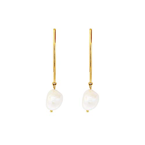 LANE WOODS 925 Sterling Silver Post Metal Bar Irregular Teardrop Genuine Freshwater Cultured Pearl Drop Dangle Stud Earrings Gifts for Her Women Ladies (Gold 2) ()