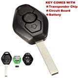 KATUR 1Pcs 3 Button Diamond Remote Key For BMW E38 E39 E46 EWS System 433MHZ With PCF7935AS Chip HU92 Blade