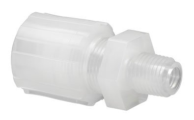 CHEMGLA - PFA Straight Adapter- 1/2'' Compression Fitting To 1/4'' NPT, EA1 -