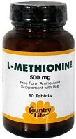 Country Life L-Methionine 500 mg with B-6, Tablets, 60-Count