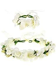 BLUECELL Rose Flower Crown Wreath Wedding Headband Wrist Band Set -