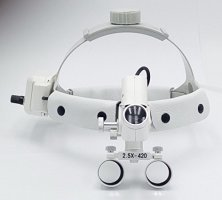 Dental Surgical Medical 2.5X420mm Adjustable Headband Loupe with LED Headlight DY-105 White by Sololife (Image #2)
