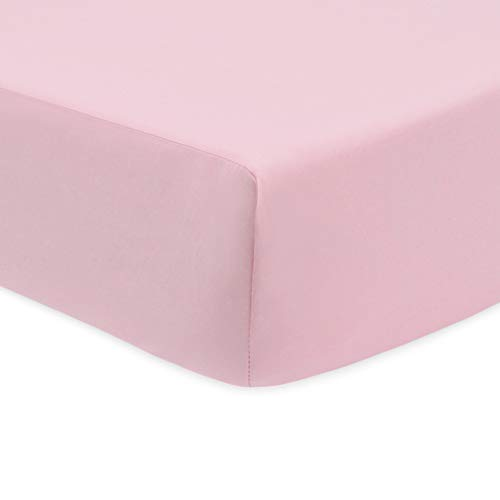 American Baby Company 100% Natural Cotton Percale Fitted Crib Sheet for Standard Crib and Toddler Mattresses, Pink, Soft Breathable, for Girls