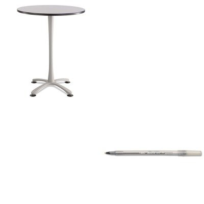 KITBICGSM11BKSAF2463SL - Value Kit - Safco Cha-Cha Bistro Height Table Base (SAF2463SL) and BIC Round Stic Ballpoint Stick Pen (BICGSM11BK) by Safco