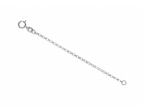 1.5mm 14k White Gold Hollow Belcher Rolo Chain Necklace Extender and Safety Chain, 2.25'' by The Men's Jewelry Store (Unisex Jewelry)
