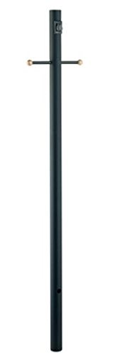 7 Lights Black Post (Acclaim 98BK Direct-Burial Lamp Posts Collection Smooth Lamp Post with Crossarm & Convenience Outlet, 7', Matte Black)