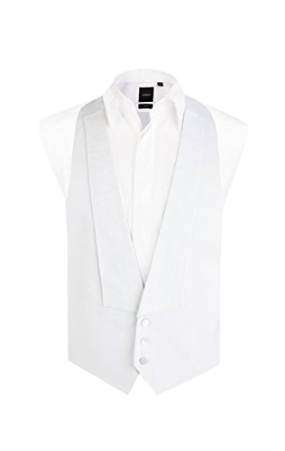 Dobell Mens White Marcella Vest Regular Fit 100% Pique Cotton Backless White Tie Evening Waistcoat-M (38-40in)