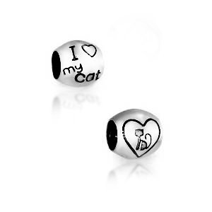 I Love My Cat Bead 925 Sterling Silver Charm Fits European Charm Bracelet - I Love My Cat Charm