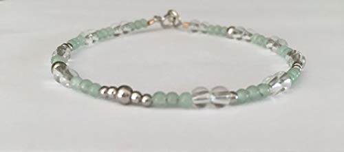 (Minimalist Bracelet, 14k White Gold, Soothing Bracelet, Aventurine Bracelet, Quartz Bracelet, Gemstone Bracelet, Boho Bracelet, Gift for her 2-3mm by Gemswholesale )