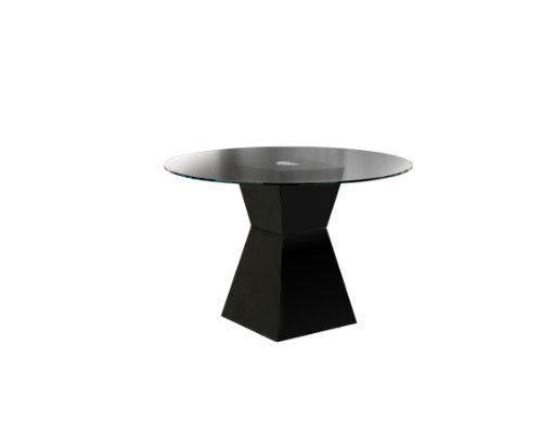 Furniture of America Ethervale Modern Round Dining Table with 12mm Tempered Glass Top, Black Finish