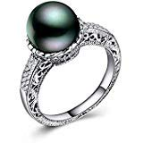 Saengthong 925 Silver Fashion Jewelry Round Cut Black Pearl Women Wedding Ring Size 6-10 (8)