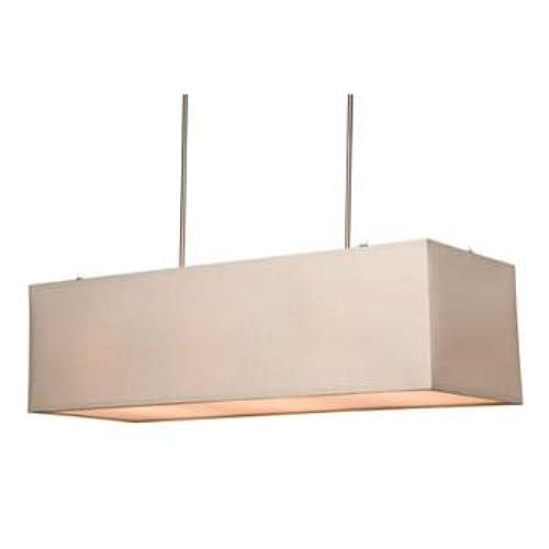 rectangular ceiling light. Artcraft Lighting Mercer Street Rectangular Chandelier, White With Linen Shade Ceiling Light