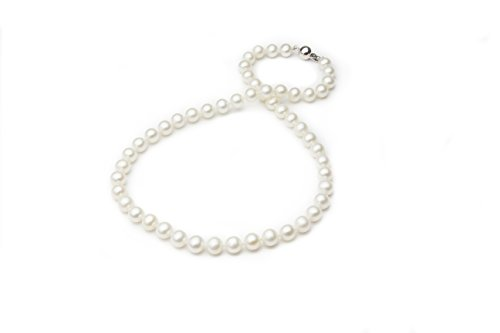 HinsonGayle AAA Handpicked 7.5-8mm White Freshwater Cultured Pearl Necklace Sterling Silver, 17 inch