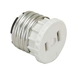 Light Fixture Outlet - Leviton 125 15 Amp, 660 Watt, 125 Volt, 2-Pole, 2-Wire, Socket To Outlet Adapter