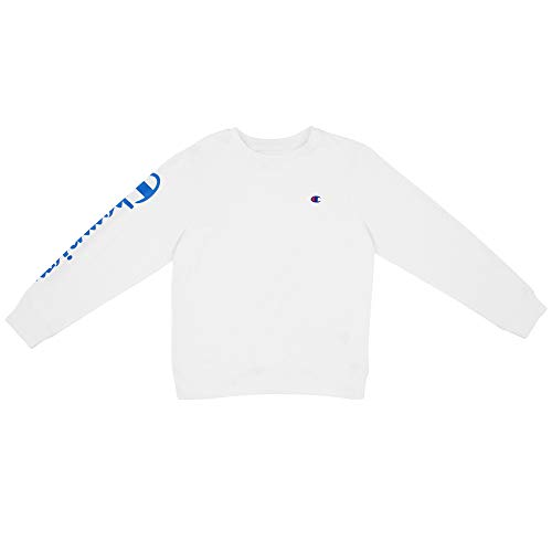 Champion Boys Heritage Long Sleeve Script Logo Tee Shirt Kids (Medium, White French Terry) ()
