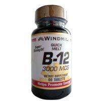 Vitamins Lozenges Windmill (Windmill quick melt vitamin B-12 3000 MCG dietary supplement tablets - 60 ea by Windmill)