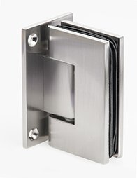 Mont Hard Wall to Glass Square Corner Shower Hinge in Brushed Nickel Finish for Frameless Heavy Glass Shower Doors