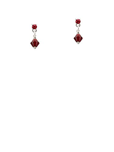 (January - Maroon - 6mm Crystal Bicone Maroon Crystal Post Earrings)