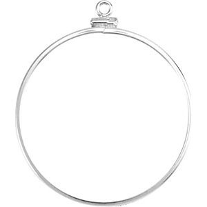 Sterling Silver Screw Top Coin Frame for 38.20 mm Coins or Emblems
