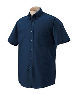 Van heusen men 39 s short sleeve wrinkle resistant oxford for Men s oxford button down shirts