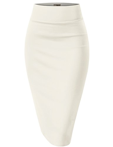 Womens Pencil Skirt for Office Wear KSK43584X 1139 Ivory 3X
