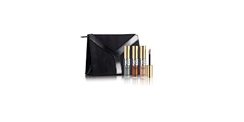 Yves Saint Laurent Full Metal Eyeshadow Trio Set: No. 1 Grey Splash + No. 3 Taupe Drop + No. 4 Onde Sable + Beauty Clutch (Clutch Sable)