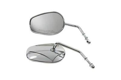 Teardrop Mirror Set - V-Twin Manufacturing Teardrop Short Stem Mirror Set 34-0391