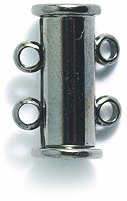 Shipwreck Beads Electroplated Brass Clasp Slide Magnetic 2-Strand, 15mm, Metallic, Gunmetal, 1-Set