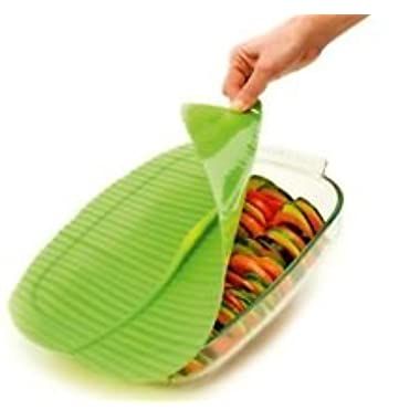 Charles VIANCIN The Banana Leaf Lid Medium & Large Silicone Suction Lid & Food Cover (Set of 2)