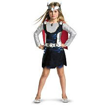 [Marvel Universe Thor Girl Costume, Red/White/Blue, Small] (Woman Thor Costume)