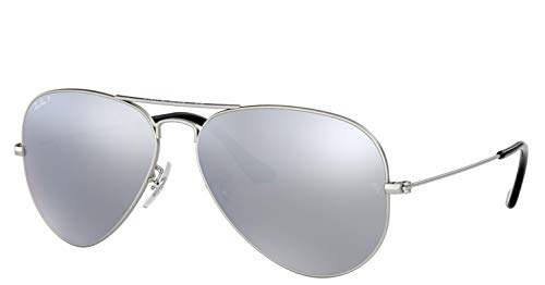 Ray-Ban AVIATOR MIRROR 58mm Silver w/ Polarized Grey Classic Sunglasses