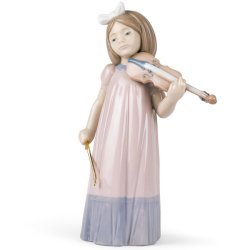 Nao by Lladro Collectible Porcelain Figurine: GIRL WITH VIOLIN - 7-1/2'' tall