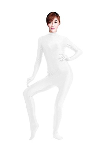 Treasure-box Women's Catsuit Dancewear Unitard Lycra Spandex Zentai Bodysuit M White (Pink Catsuit)
