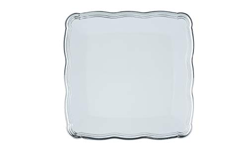 - Plastic Serving Tray | Disposable Heavyweight Serving Party Platters, 6 Pack, 12 x 12 White Square Serving Trays With Silver Rim Border - Posh Setting